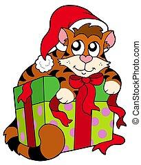 Cute cat in Santas hat