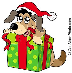 Cute dog in Santas hat - isolated illustration.
