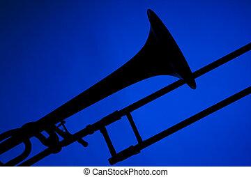 trombón, silueta, aislado, azul