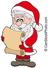 Santa Claus reading parchment - isolated illustration.