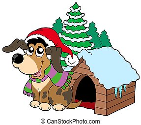 Cute Christmas dog - isolated illustration