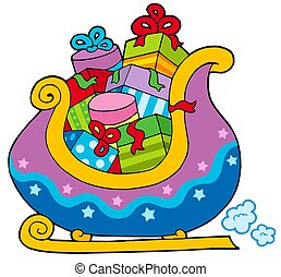 Christmas sledge full of gifts - isolated illustration.