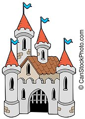 Old castle on white background - isolated illustration.