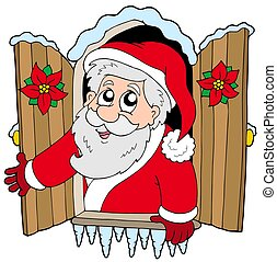 Christmas window with Santa Claus - isolated illustration.