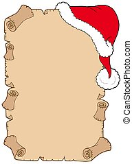 Parchment with Christmas hat - isolated illustration.