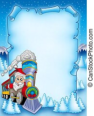 Christmas parchment with Santa Claus 2 - color illustration.