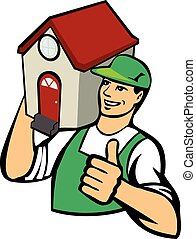 Home relocation - Moving helper holds a house on his...