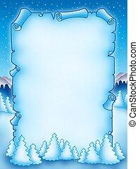 Winter parchment with snowy landscape 1 - color...