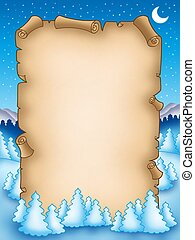Winter parchment with snowy landscape 2 - color illustration...