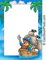 Frame with pirate sailing on ship