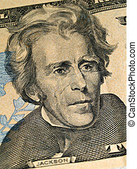 Macro detail of the US $20 Bill - Andrew Jackson as depicted...