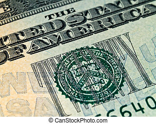 Macro detail of the US $20 Bill - The Seal on the US $20...