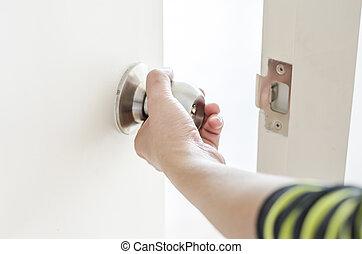 Hand opening door knob,white door - Hand opening door...