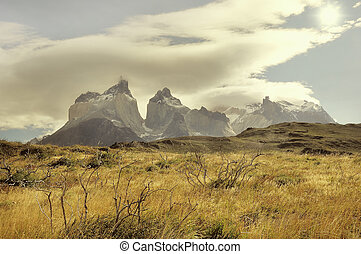 Los Cuernos mountains Torres del Paine National park...