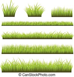 Grass Backgrounds - Realistic vector grass 4 color global...