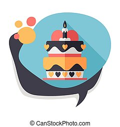 Valentines Day cake flat icon with long shadow,eps10