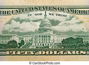 Macro detail of the US $50 Bill - The Capitol Building as...
