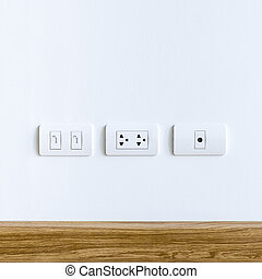 Wall Plug for electric, telephone and cable television -...