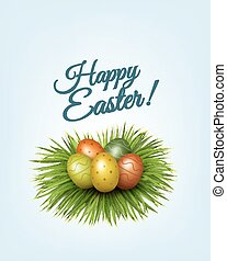 Happy Easter background. Colorful easter eggs in green grass. Vector.