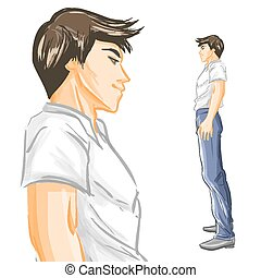 Profile of handsome young man