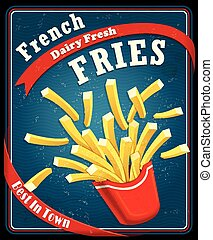 Vintage fast food poster design with fries
