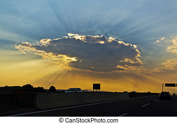 Crepuscular rays - The warm and cold colours of the sun...