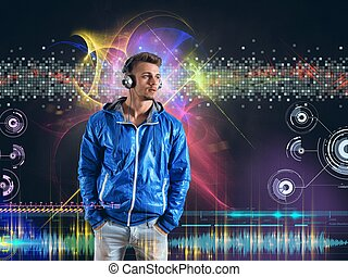 Boy listens to music - Boy listens to disco music for...