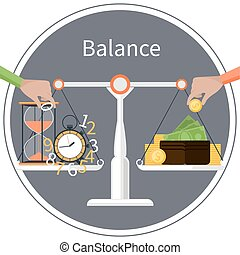 Time is money. Management concept - Concept with scales on...