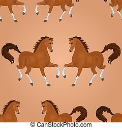 Seamless texture brown horse running vector illustration