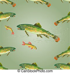 Seamless texture brook trout predator catch a fish vector...