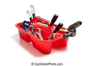 rojo, herramienta, bandeja, Lleno, herramientas
