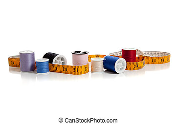 multi colored thread with tape measure - Multi colored...