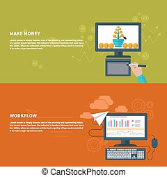 Make money and workflow business concept - Business concepts...