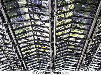 Metal roof structure - Closeup modern of metal roof...