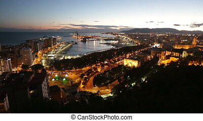 Malaga and Mediterranean port in - Aerial view of Malaga and...