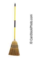 broom on a white background - Yellow handled broom on a...