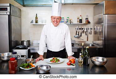 At restaurant kitchen - Portrait of a nature chef at his...