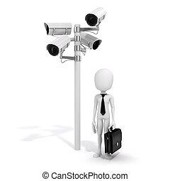 3d man, businessman and security camera