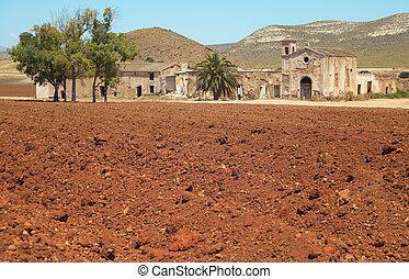 Andalusian farmhouse ruins in Almeria. Cortijo del Fraile....