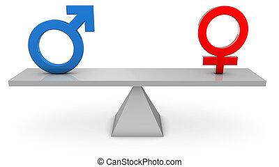 Gender Equality - 3D render of Gender symbols on a seesaw.