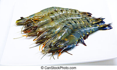 The large fresh shrimp on a white dish