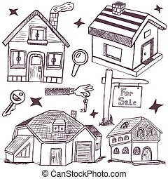 doodle homes - Collection of hand drawn different homes and...