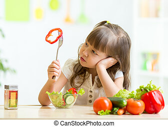 Cute little girl not wanting to eat healthy food - Cute kid...