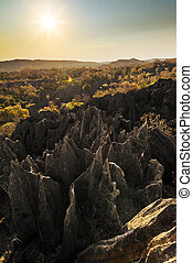 Tsingy afternoon landscape - Beautiful sunset view on the...