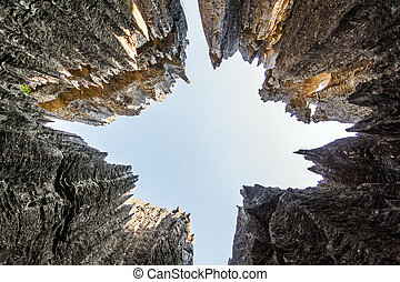 Tsingy sky view - Skyward view on the unique limestone...