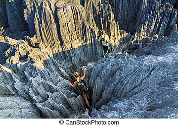 Tsingy climbing - Beautiful tourist on an excursion in the...