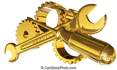 gears with screwdriver and wrench - gears wrench screwdriver...