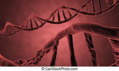 red helix of DNA - deoxyribonucleic acid propeller rendered...