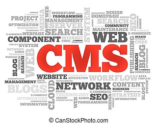 CMS Content Management System word cloud, vector business...