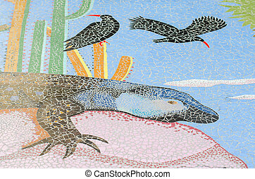 Ceramic tile patterns and colors: nopal cactus, black birds...